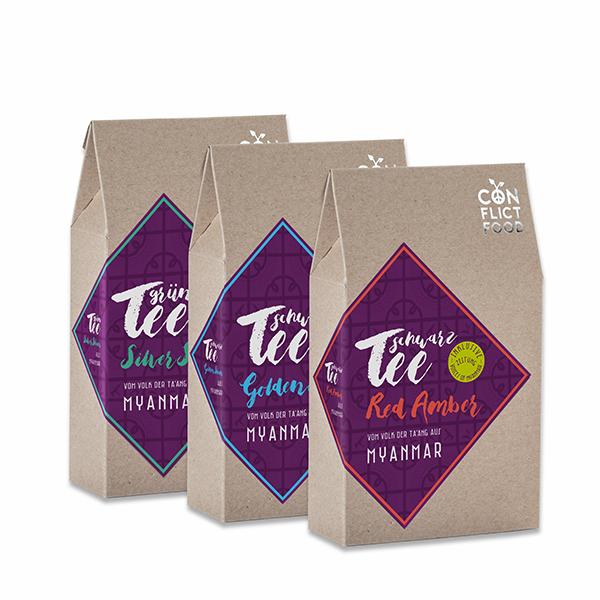 Tee-Trio: Bio-Tees aus Myanmar, 3x 100g